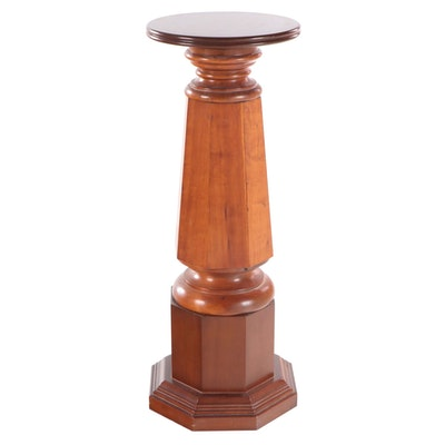 "Cherrywood Display Pedestal, Stamped ""GLENN"", Mid to Late 20th Century"