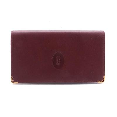 Must de Cartier Burgundy Leather Clutch Wallet