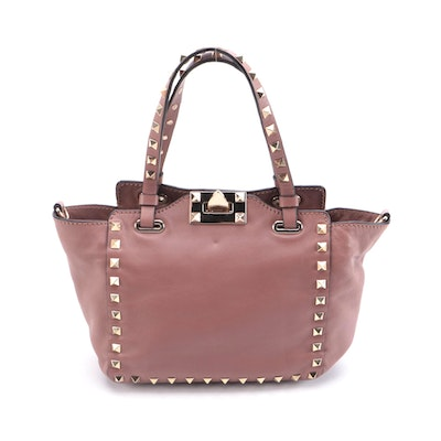 Valentino Rockstud Leather Two-Way Mini Tote in Mauve