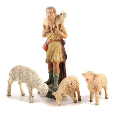 German Plastic Shepherd and Sheep Figurines