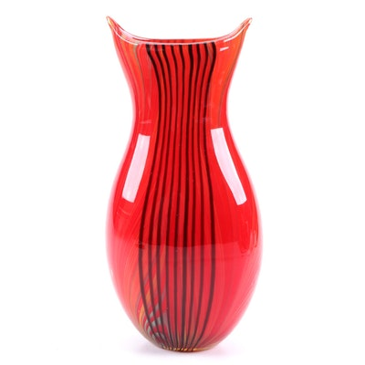Reflections Blown Art Glass Vase with Stripes