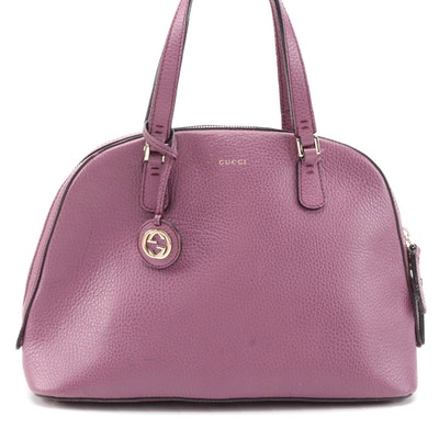 Gucci Lady Dollar Dome Medium Two-Way Satchel in Lilac Pink Grained Leather