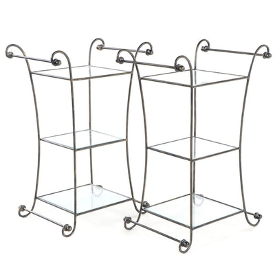 Pair of Contemporary Patinated Metal and Glass Three-Tier Side Tables