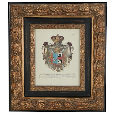 Offset Lithograph of 18th Century French Heraldic Crest, Late 20th Century