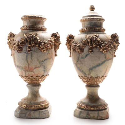 Pair of Marbleized and Gilt Accented Classical Urns