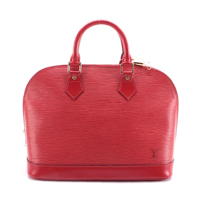Louis Vuitton Alma Top Handle Bag in Castilian Red Epi Leather