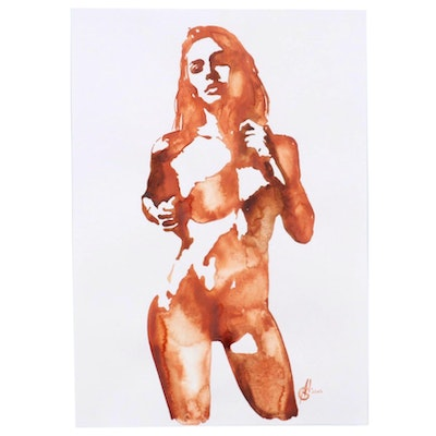 Alyona Glushchenko Figural Watercolor Painting of Female Nude, 2020