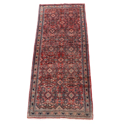 3'10 x 10'8 Hand-Knotted Persian Hamadan Wool Long Rug