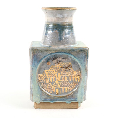 Gilt Decorated Glazed Pottery Vase