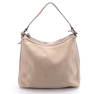 Gucci Bamboo Accent Beige Leather Hobo Shoulder Bag
