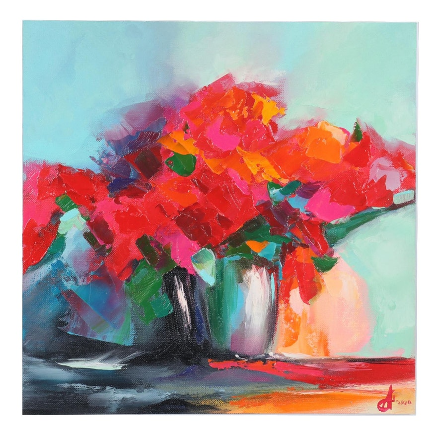 Alyona Glushchenko Abstract Floral Still Life Oil Painting, 2020