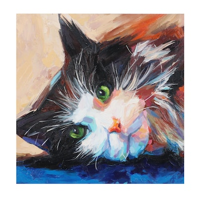 Alyona Glushchenko Oil Painting of a Cat, 2020