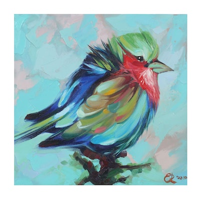 Alyona Glushchenko Oil Painting of Colorful Bird on Branch, 2020