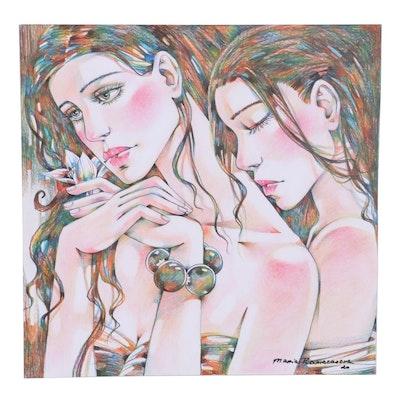 Maria Ramazanova Colored Pencil Drawing of Female Figures, 2020