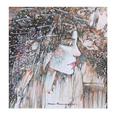 Maria Ramazanova Stylized Colored Pencil Drawing of Woman in Profile