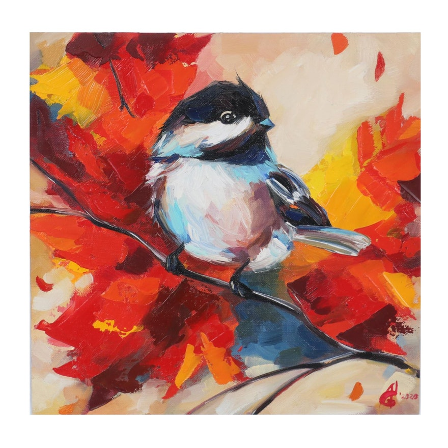Alyona Glushchenko Oil Painting of Bird on Tree Branch, 2020