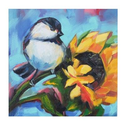 Alyona Glushchenko Oil Painting of Chickadee on Sunflower, 2020