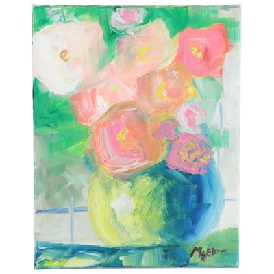 """Claire McElveen Oil Painting """"Early Morning Blooms,"""" 2020"""