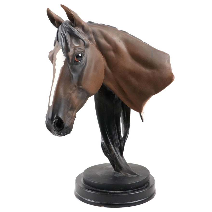 Painted Resin Bust of a Horse