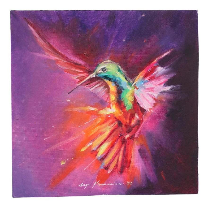 Inga Khanarina Oil Painting of Hummingbird, 2021