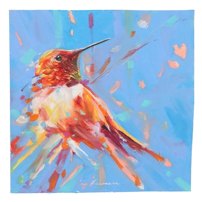 Inga Khanarina Oil Painting of a Hummingbird, 21st Century