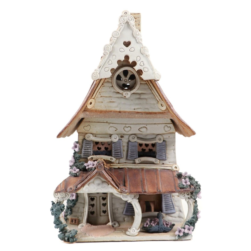 """Windy Meadows Pottery """"Morning Glory"""" Hand Built Ceramic Candle House"""
