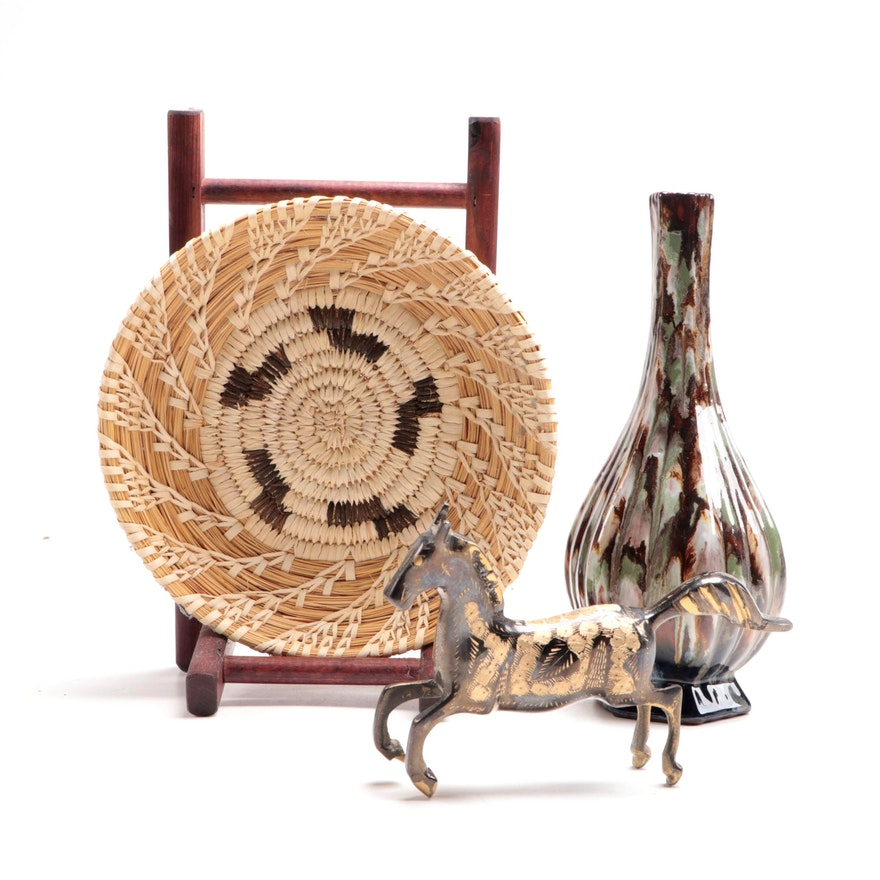 French Art Pottery with Woven Basket and Brass Horse Figure
