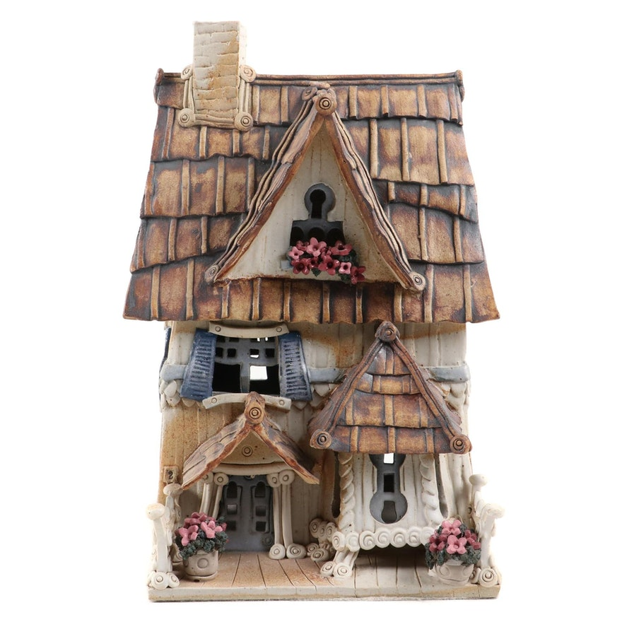 "Windy Meadows Pottery ""Clementine"" Hand Built Ceramic Candle House"