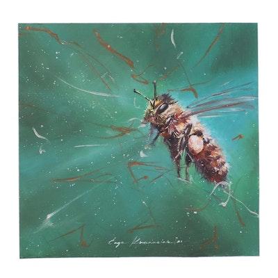 Inga Khanarina Oil Painting of Honey Bee, 2021