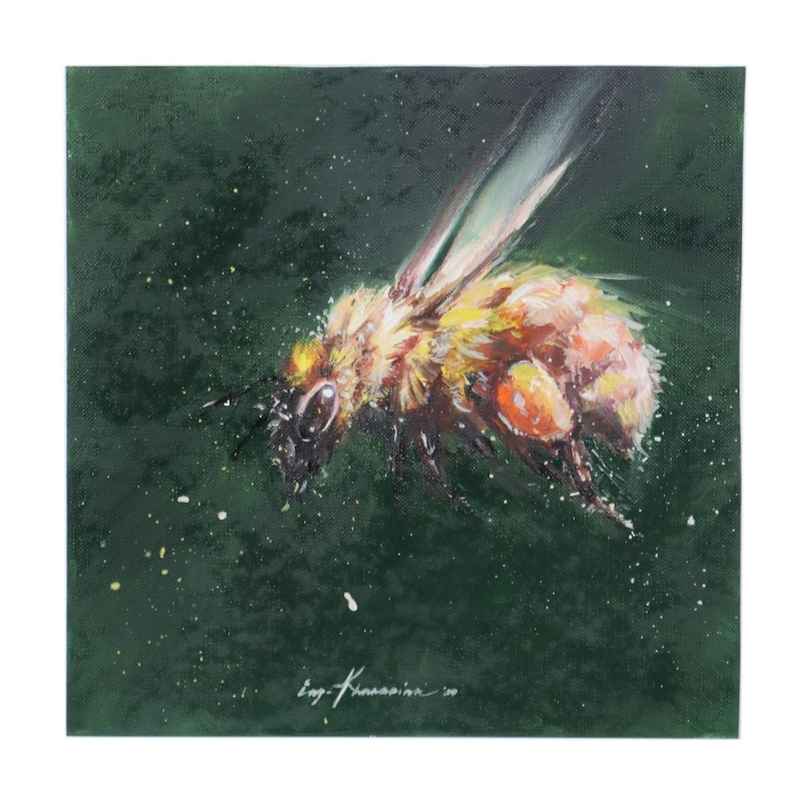Inga Khanarina Oil Painting of Bee in Flight, 2000