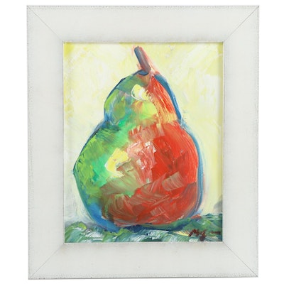 "Claire McElveen Oil Painting ""Pear Abstract,"" 2020"