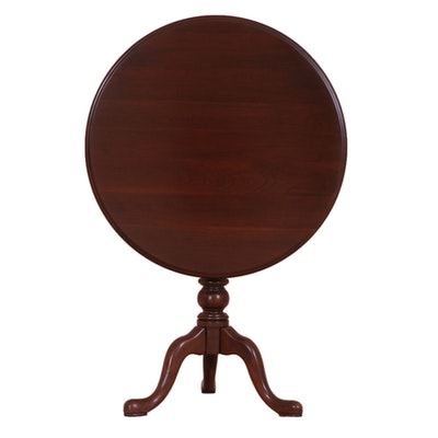 "Ethan Allen ""Georgian Court"" Queen Anne Style Cherry Tilt-Top Tea Table"