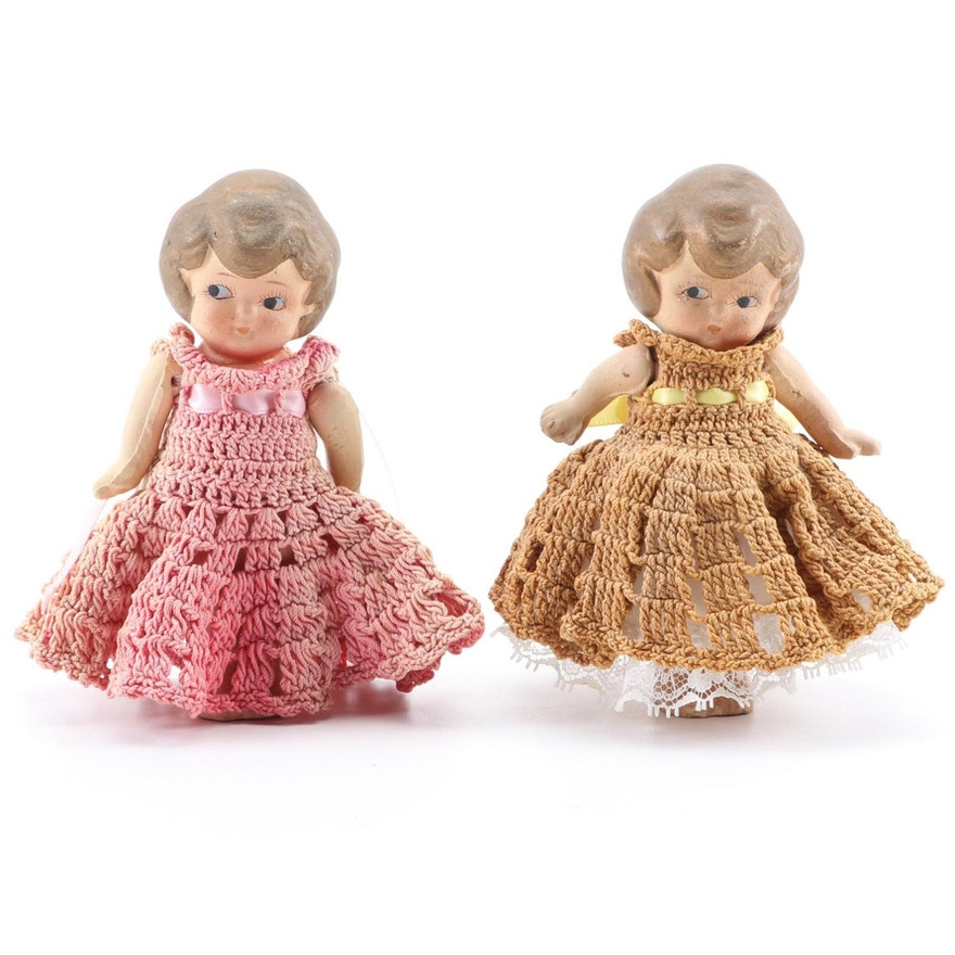 Reproduction Stone Bisque Child's Pocket Dolls, Mid to Late 20th Century