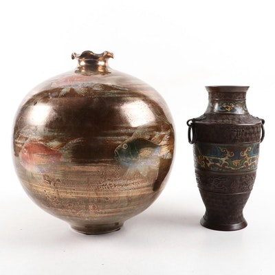 Japanese Champlevé Vase and Hilda Flack Ceramic Vase, Mid to Late 20th Century