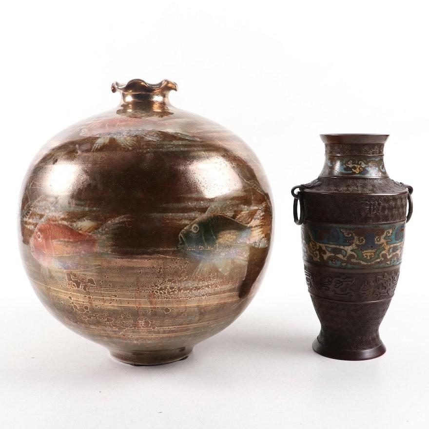 Japanese Champlevé Vase and Hilda Flack Ceramic Vase, Mid to Late 20th Century