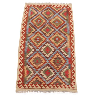 3'4 x 6'8 Handwoven Turkish Caucasian Kilim Area Rug