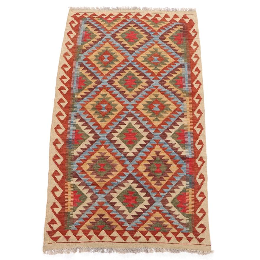3'4 x 6'8 Handwoven Turkish Caucasian Kilim Area Rug