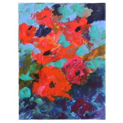 "Claire McElveen Abstract Floral Acrylic Painting ""Rose Fall,"" 2020"