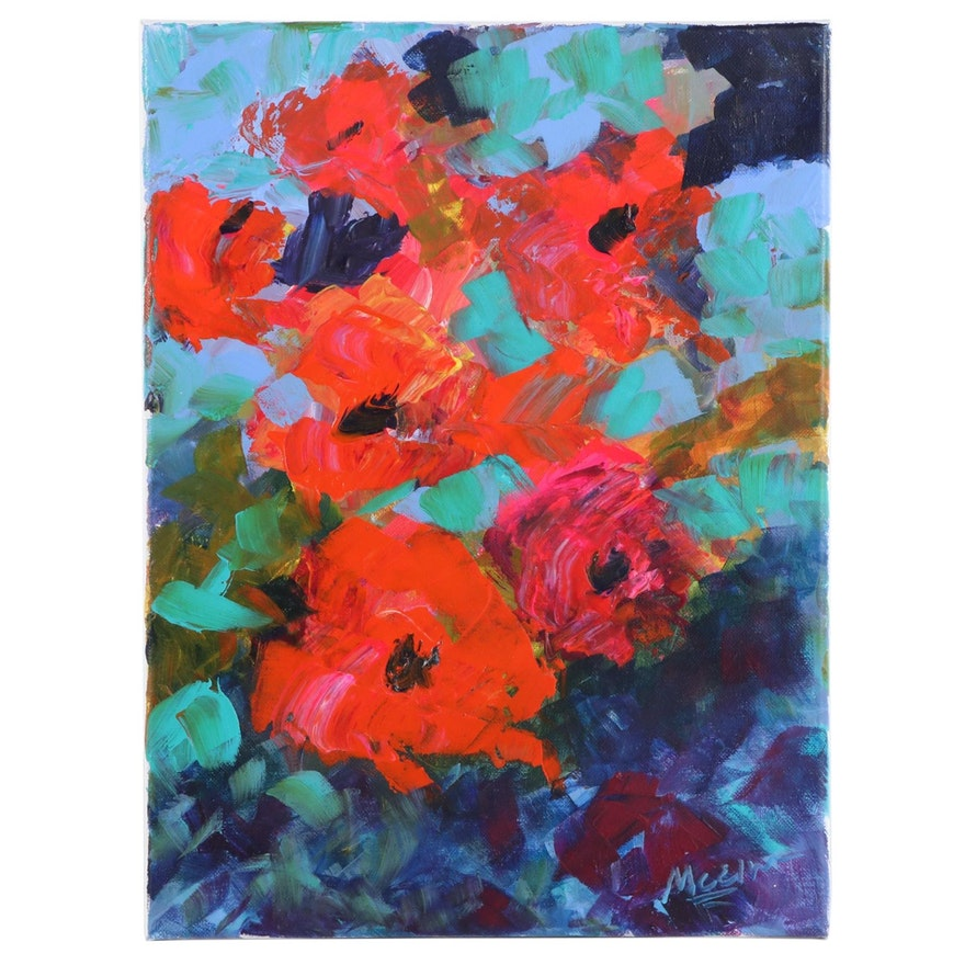 """Claire McElveen Abstract Floral Acrylic Painting """"Rose Fall,"""" 2020"""