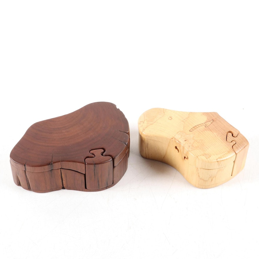Don Rupard Carved Wood Puzzle Boxes, Late 20th Century
