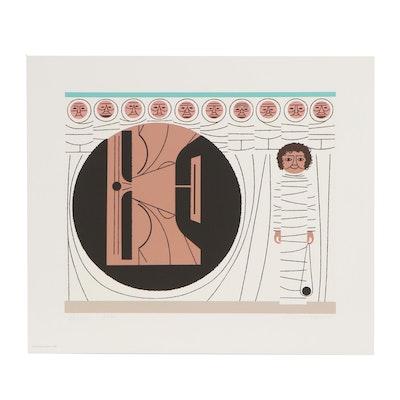"""Edie Harper Serigraph of David and Goliath """"Pow!,"""" 1979"""