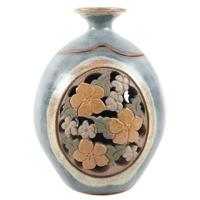Kathy Veverka Carved Stoneware Art Pottery Vase