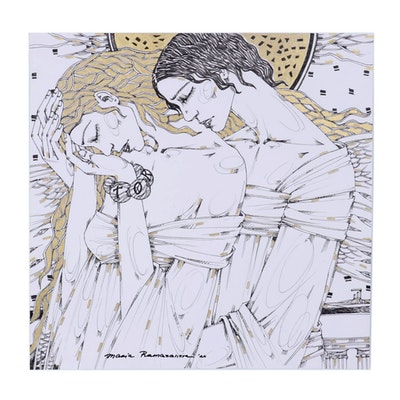 Maria Ramazanova Embellished Ink Drawing of Couple Embracing, 2020