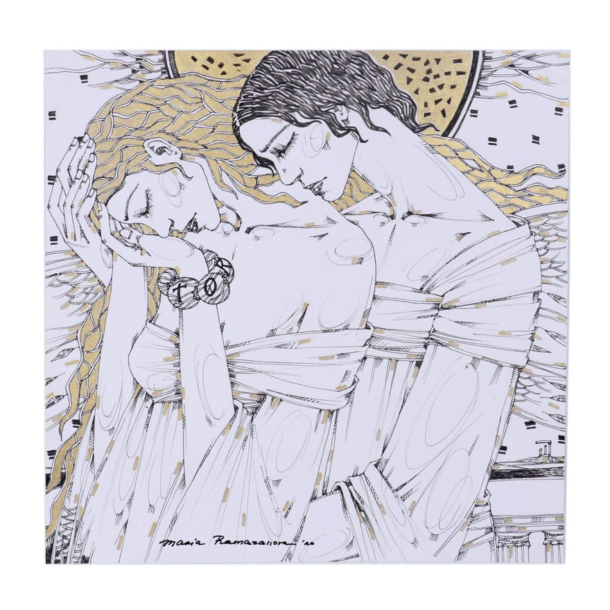 Maria Ramazanova Embellished Ink Drawing of Couple Embracing, 2020