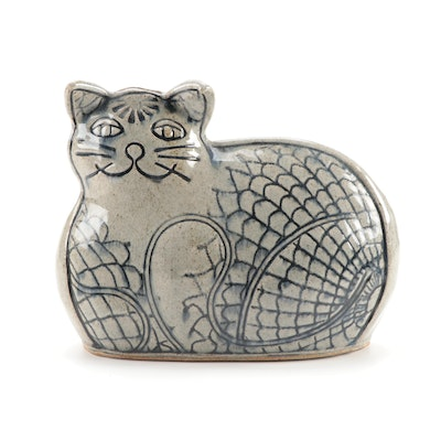 Evelyn Lamers Hand Built Ceramic Cat Coin Bank, Late 20th Century