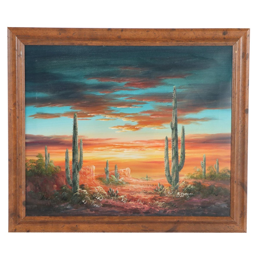Desert Landscape Oil Painting, Late 20th to 21st Century