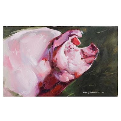 Inga Khanarina Oil Painting of Pig, 2021