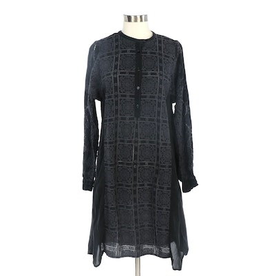 Johnny Was Floral Embroidered Sheer Tunic Dress in Black/Gray