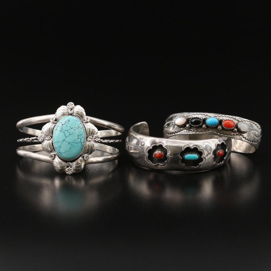 Southwestern Sterling Gemstone Cuffs Featuring J. Bahe