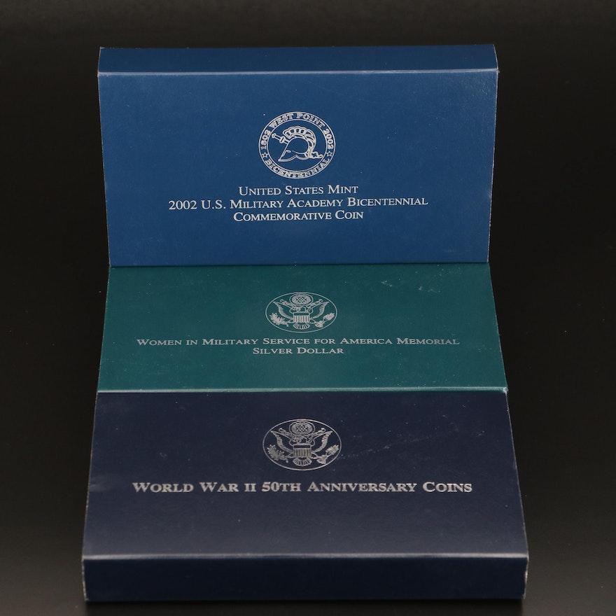 Three Commemorative Proof Silver Dollars